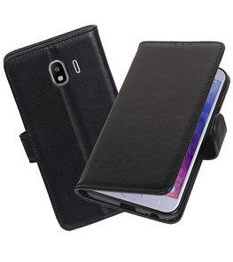 Echt Lederen Hoesje Wallet Case voor Samsung Galaxy J4 (2018) Zwart
