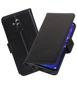 Echt Lederen Hoesje Wallet Case voor Huawei Mate 20 Lite Zwart