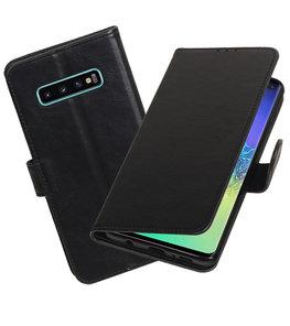 Motief Bookstyle Hoesje voor Samsung Galaxy S10 Plus Zwart