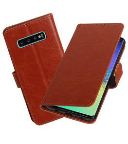 Motief Bookstyle Hoesje voor Samsung Galaxy S10 Plus Bruin