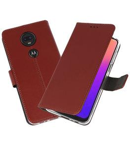 Booktype Wallet Cases Hoesje voor Motorola Moto G7 Bruin
