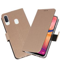 Wallet Cases Hoesje voor Samsung Galaxy A20e Goud