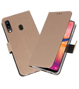 Wallet Cases Hoesje voor Samsung Galaxy A20 Goud