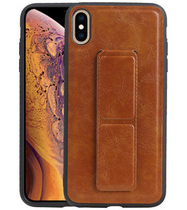 Grip Stand Hardcase Backcover voor iPhone XS Max Bruin