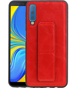 Grip Stand Hardcase Backcover voor Samsung Galaxy A7 (2018) Rood