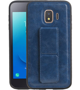 Grip Stand Hardcase Backcover voor Samsung Galaxy J2 Core Blauw