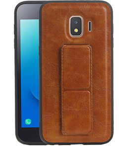 Grip Stand Hardcase Backcover voor Samsung Galaxy J2 Core Bruin