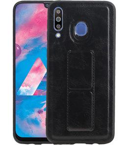 Grip Stand Hardcase Backcover voor Samsung Galaxy M30 Zwart