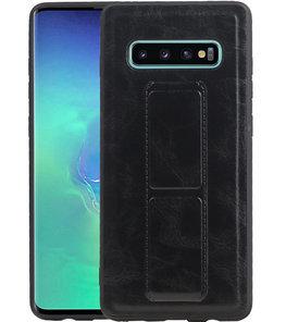 Grip Stand Hardcase Backcover voor Samsung Galaxy S10 Plus Zwart