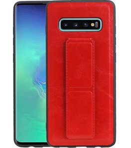 Grip Stand Hardcase Backcover voor Samsung Galaxy S10 Plus Rood