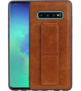 Grip Stand Hardcase Backcover voor Samsung Galaxy S10 Plus Bruin