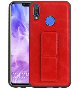 Grip Stand Hardcase Backcover voor Huawei Nova 3 Rood