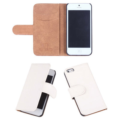 Eco-Leather Creme Bookcase Hoesje Apple iPhone 5 5S