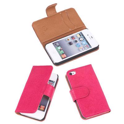 BestCases Fuchsia Echt Lederen Booktype Hoesje Apple iPhone 4 4s