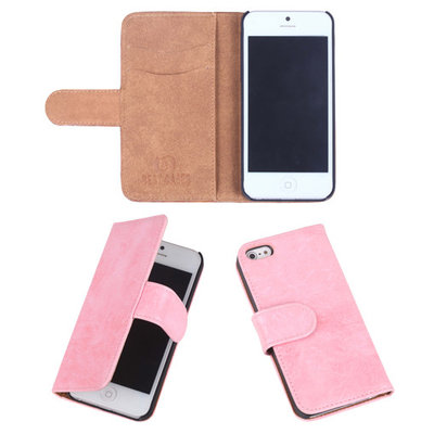 Eco-Leather Light Pink Bookcase Hoesje voor Apple iPhone 5 5S