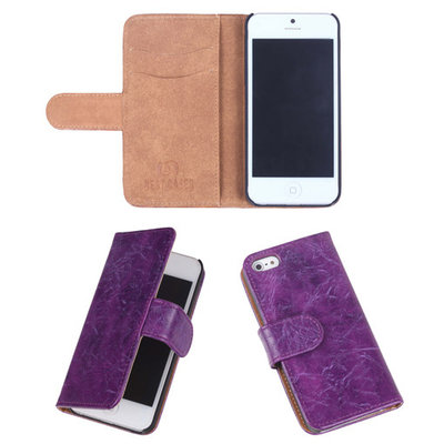 Eco-Leather Lila Bookcase Hoesje Apple iPhone 5 5S