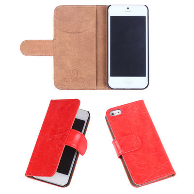 Eco-Leather Oranje Bookcase Hoesje Apple iPhone 5 5S
