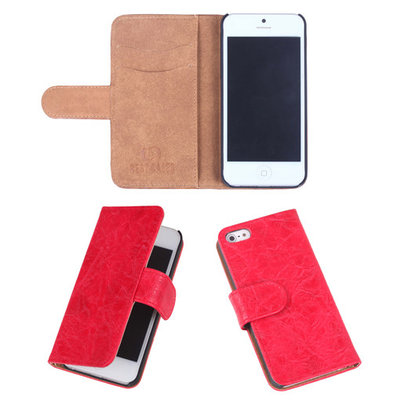 Eco-Leather Rood Bookcase Hoesje Apple iPhone 5 5S