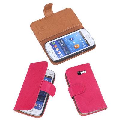 BestCases Fuchsia Echt Leer Booktype Hoesje voor Samsung Galaxy Trend Lite S7390