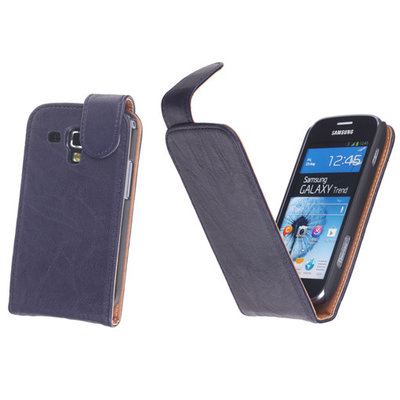 BestCases Navy Blue Kreukelleer Flipcase Hoesje voor Samsung Galaxy Trend S7560