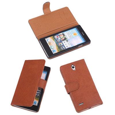 BestCases Bruin Luxe Echt Lederen Booktype Hoesje voor Huawei Ascend G700