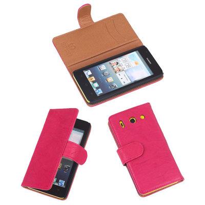 BestCases Roze Luxe Echt Lederen Booktype Hoesje Huawei Ascend G510