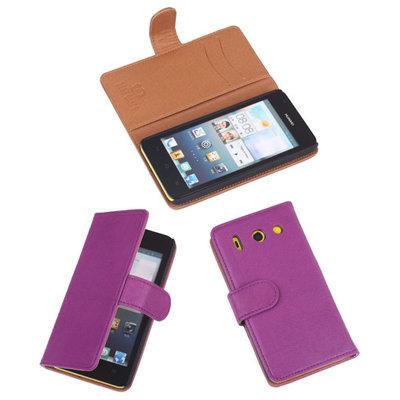 BestCases Lila Luxe Echt Lederen Booktype Hoesje Huawei Ascend G510