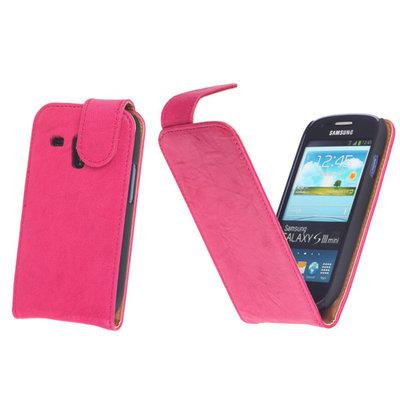 BestCases Fuchsia Kreukelleer Flipcase Hoesje voor Samsung Galaxy S3 Mini i8190