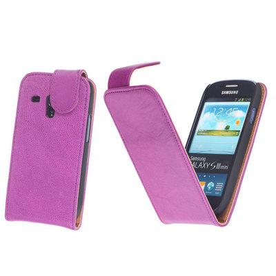 BestCases Lila Kreukelleer Flipcase Hoesje voor Samsung Galaxy S3 Mini i8190