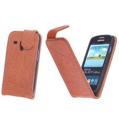 BestCases Bruin Kreukelleer Flipcase Hoesje voor Samsung Galaxy S3 Mini i8190