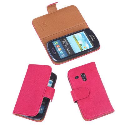 BestCases Fuchsia Echt Leer Booktype Hoesje voor Samsung Galaxy S3 Mini i8190