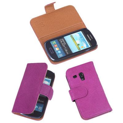 BestCases Lila Echt Leer Booktype Hoesje voor Samsung Galaxy S3 Mini i8190