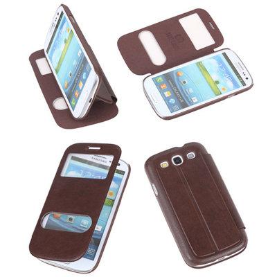 Bookcase Flip Cover VIEW Hoesje voor Samsung Galaxy S3 i9300 Bruin