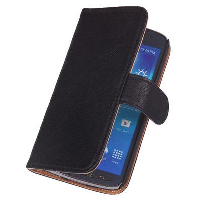 BestCases Luxe Echt Lederen Booktype Hoesje voor HTC One M7 Zwart