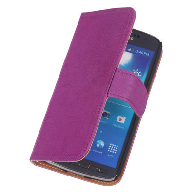 BestCases Lila Luxe Echt Lederen Booktype Hoesje voor HTC One Mini M4