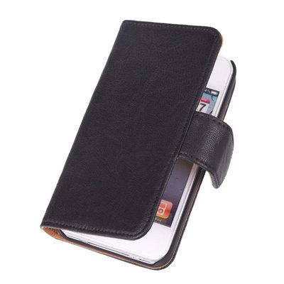 BestCases Zwart Echt Lederen Booktype Hoesje voor Apple iPod 4