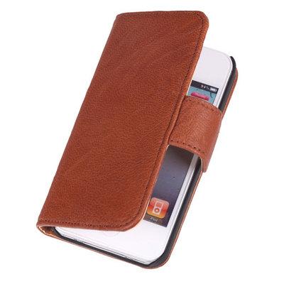 BestCases Bruin Echt Lederen Booktype Hoesje voor Apple iPod 4