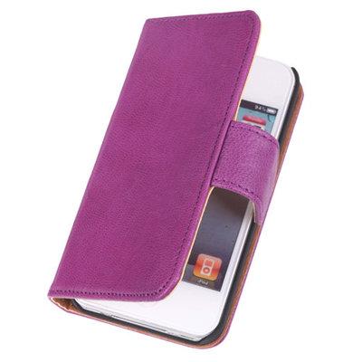 BestCases Lila Echt Lederen Booktype Hoesje voor Apple iPod 4