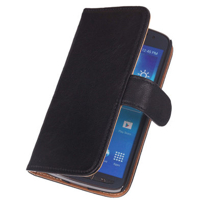 BestCases Zwart Luxe Echt Lederen Booktype Hoesje HTC Desire 500