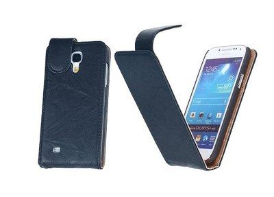 BestCases Navy Blue Luxe Kreukelleer Flipcase Hoesje voor Samsung Galaxy S4 i9500
