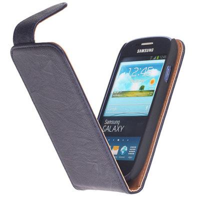 BestCases Navy Blue Kreukelleer Flipcase Hoesje voor HTC One M7