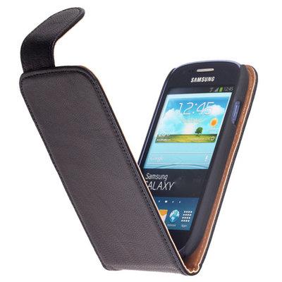 BestCases Zwart Kreukelleer Flipcase Hoesje voor HTC One M7