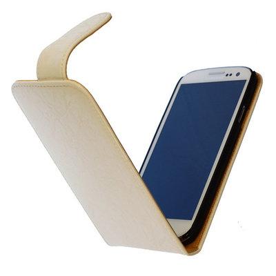 Bestcases Vintage Creme Flipcase Hoesje voor LG Optimus L5 2 E460