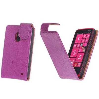 BestCases Lila Kreukelleer Flipcase Hoesje voor Nokia Lumia 620