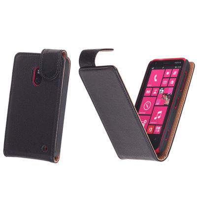 BestCases Zwart Kreukelleer Flipcase Hoesje voor Nokia Lumia 620