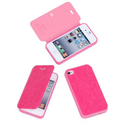 Bestcases Pink TPU Booktype Motief Hoesje voor Apple iPhone 4 4s