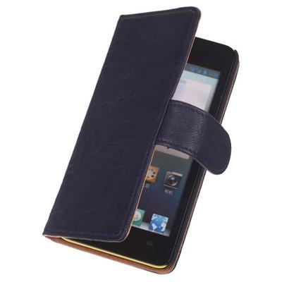 Echt Leer Bookcase Donker Blauw - Hoesje voor Samsung Galaxy S5