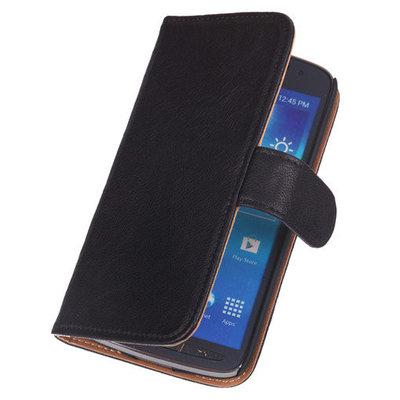 Zwart Lederen Booktype Hoesje Samsung Galaxy S5 (Plus)