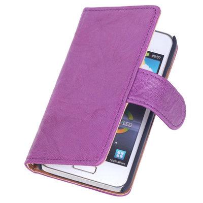 BestCases Lila Echt Leer Booktype Hoesje voor Samsung Galaxy S Advance i9070