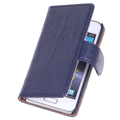 BestCases Navy Blue Echt Leer Booktype Hoesje voor Samsung Galaxy S Advance i9070